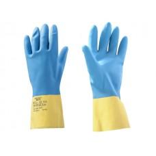 Перчатки неопреновые хозяйственно - промышленные, р-р 9/L, К80, Щ40, желто-голубые, JetaSafety (К80, Щ40, Хозяйственные, промышленные перчатки из неоп