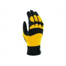 Перчатки виброзащитные из синтетической кожи, р-р 10/XL, черно-желтые, JetaSafety (JAV01-10/XL Виброзащитные перчатки, синтетич. кожа, черно-желт) (JE