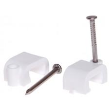 Скоба для крепления прямоугольного кабеля 6 мм белая, с гвоздем (50 шт в зип-локе) STARFIX